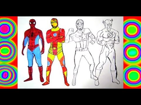 Spiderman Iron Man Captain America Flash Coloring Pages Superheroes Youtube