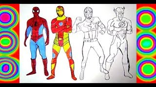 SPIDERMAN, IRON MAN, CAPTAIN AMERICA, FLASH COLORING PAGES SUPERHEROES