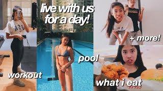 VLOG: what i eat, workout, shopping & pool