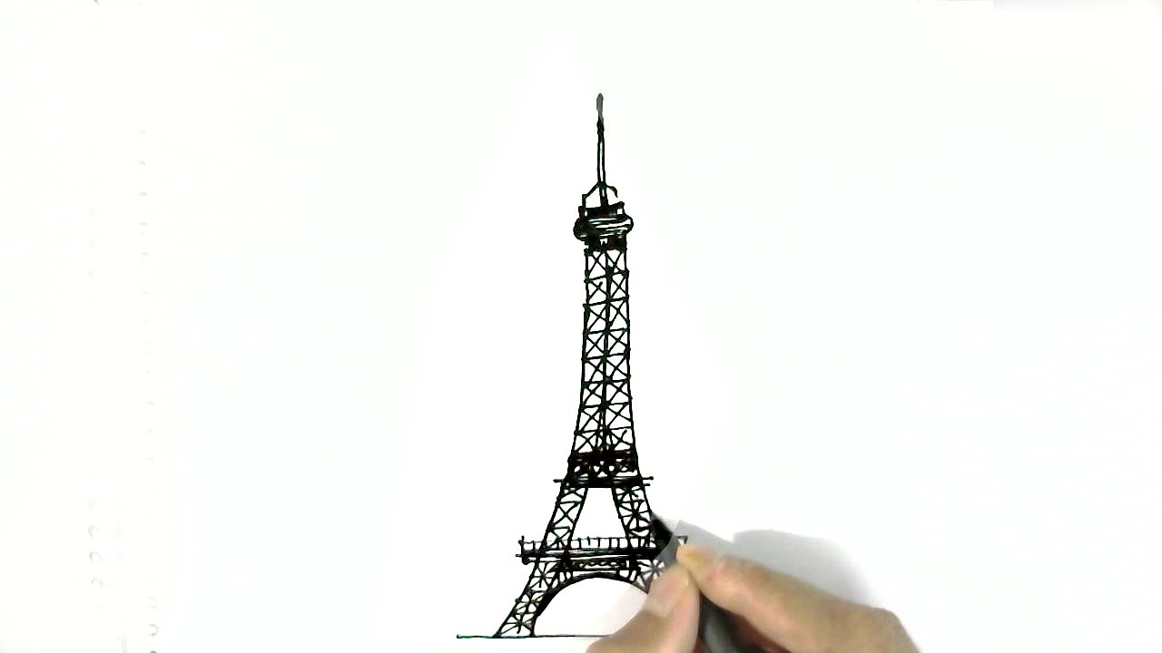 How to draw The Eiffel Tower  in easy steps for children