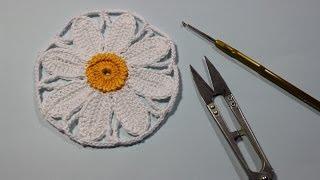 Как вязать крючком ромашку. How to crochet daisy.