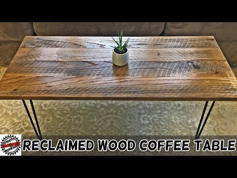 Reclaimed White Oak Coffee Table with Hairpin Legs