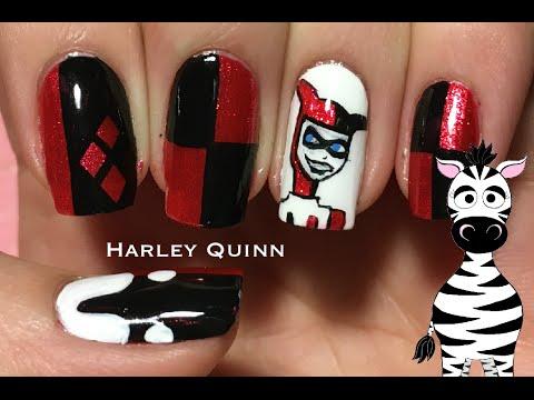 Harley Quinn Nail Art Design Tutorial Request Youtube