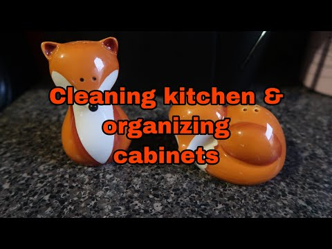 Cleaning kitchen & organizing cabinets