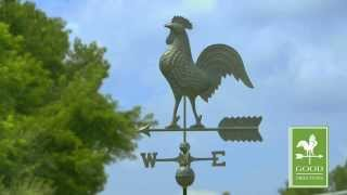 Gd515v1 Rooster Weathervane Blue Verde Copper