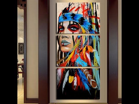 Native American Girl Feathered Women Modern Home Wall Decor Canvas On Canvas 3 Piece