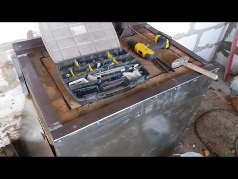 Как обшить печку оцинкованным железом видео