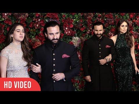 Saif Ali Khan With Daughter Sara And Wife Kareena At Ranveer-Deepika Reception Party #DeepVeer