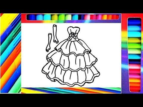 Dibuja Y Colorea Vestido de Princesa - Draw and Color Princess Dress ...