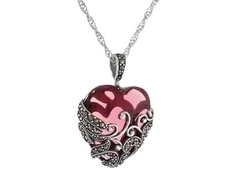 Sterling silver oxidized marcasite and gemstone colored glass sterling silver oxidized marcasite and gemstone colored glass filigree heart pendant necklace mozeypictures Image collections