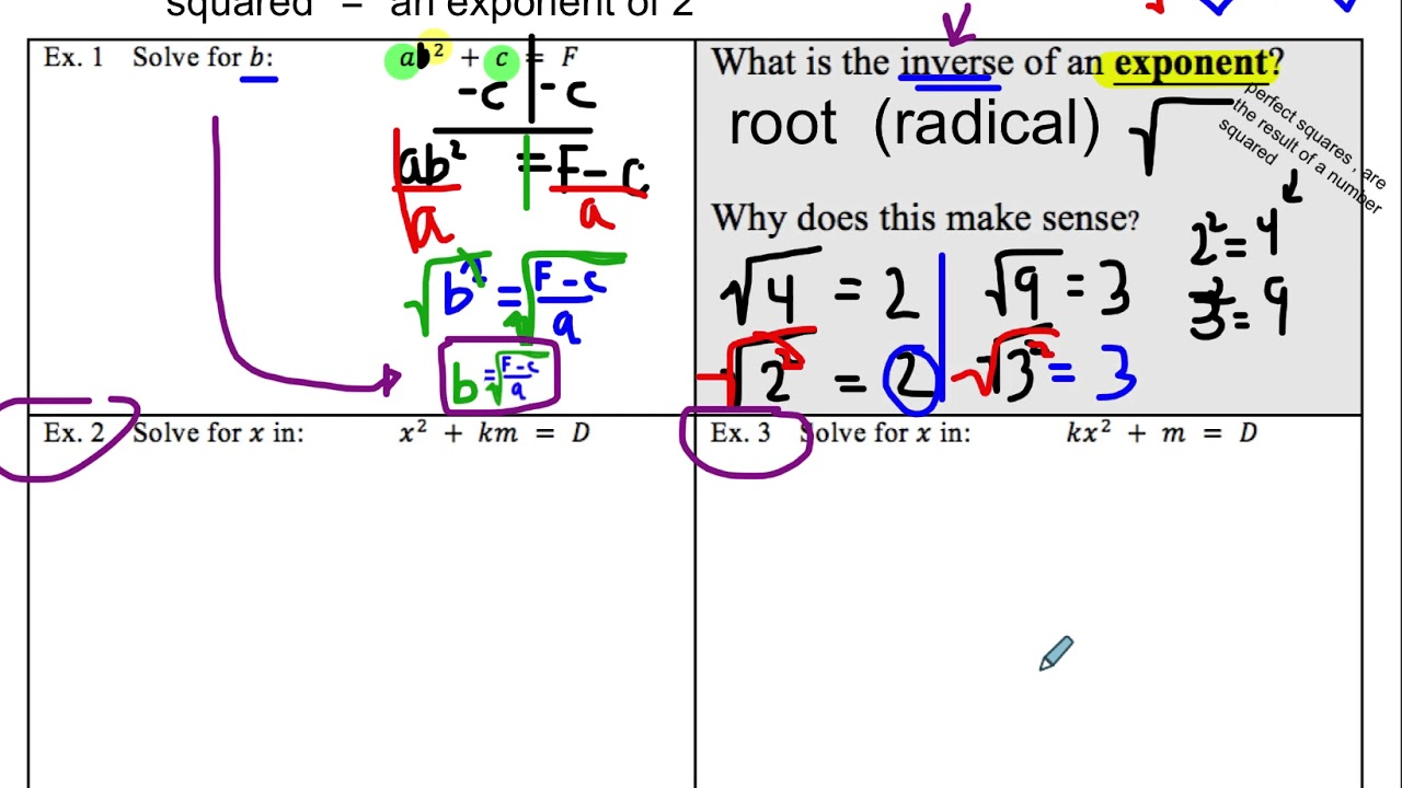 U2c11 Literal Equations With Exponents Roots Youtube