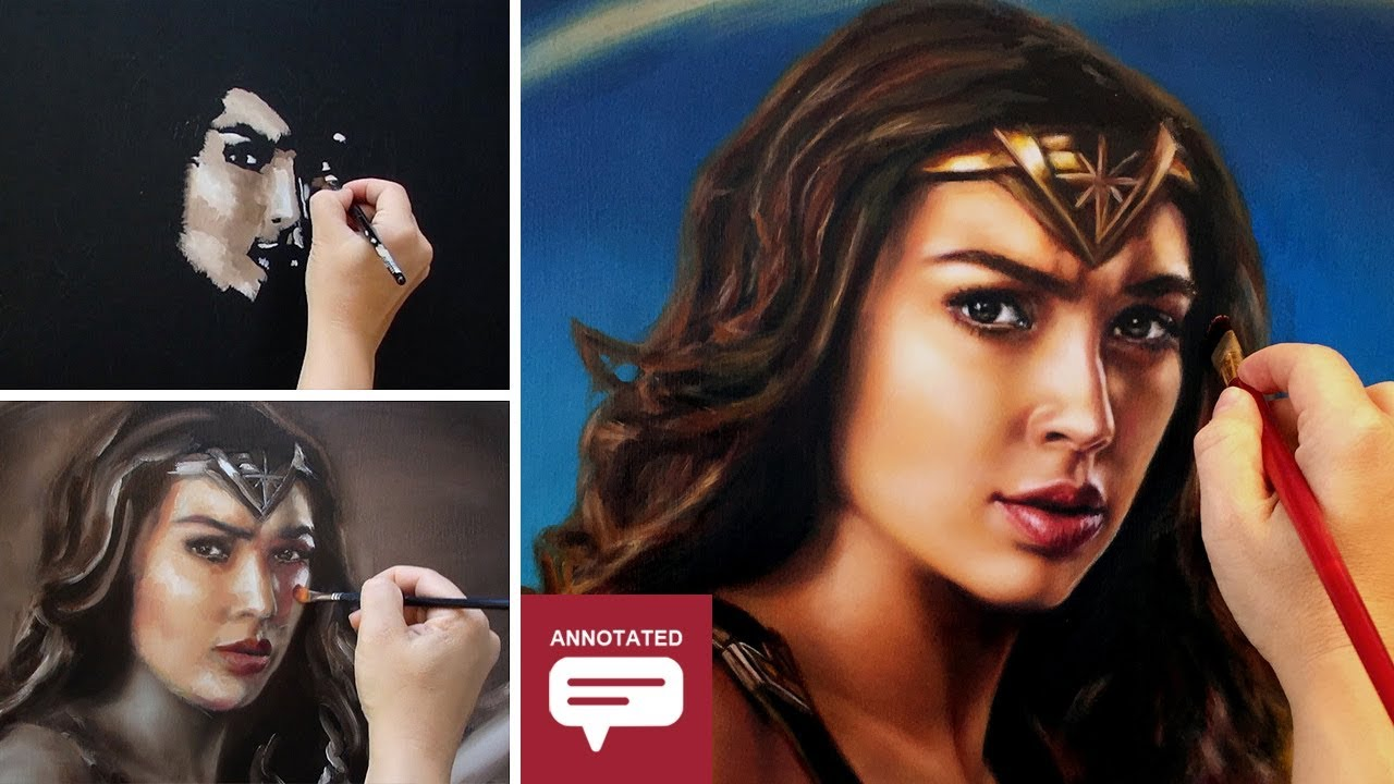 HOW TO PAINT WONDER WOMAN / GAL GADOT ✦ VIBRANT COLORS PORTRAIT ART - Annotated Tutorial
