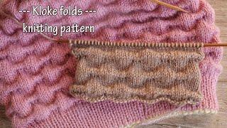 Узор складки – Клоке спицами 🎀 Kloke folds knitting pattern