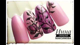 ❤ Дизайн с БЛЕСТКАМИ ❤ ВЕТОЧКИ на ногтях ❤ ПРОСТОЙ дизайн ногтей гель лаком ❤