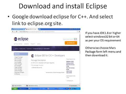 installing eclipse cdt and mingw
