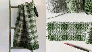 Crochet Green Gingham Baby Blanket