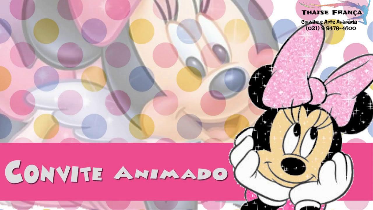 Convite Animado Chá De Fralda Minnie Rosa Youtube
