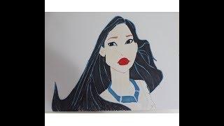 Pocahontas çizimi. How to draw Pocahontas (Disney Princess), Draw Çizim