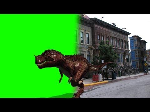 T-Rex dinosaur walk by Street - green screen Footage