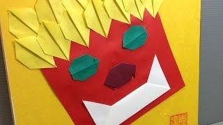 Origami Demon Mask Setsubun Oni Display Shikishi