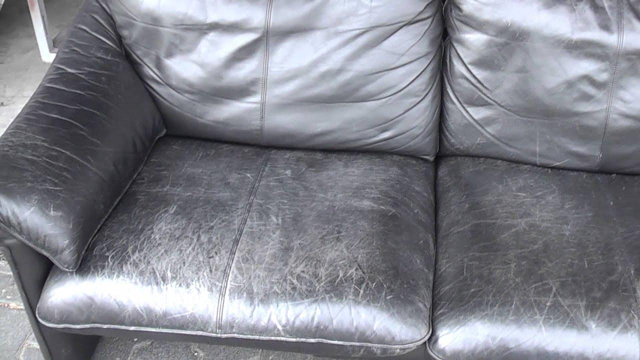 berarbeitung von altem ledersofa teil 1 youtube. Black Bedroom Furniture Sets. Home Design Ideas