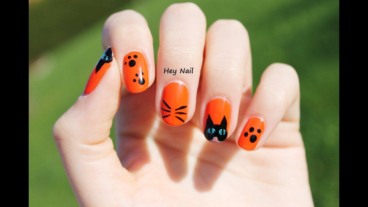 Nail art chat noir sp cial halloween youtube - Nail art chat ...
