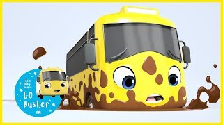 Stuck in the Mud | GoBuster Official |  ABCs and 123s | Nursery Rhymes | Bus