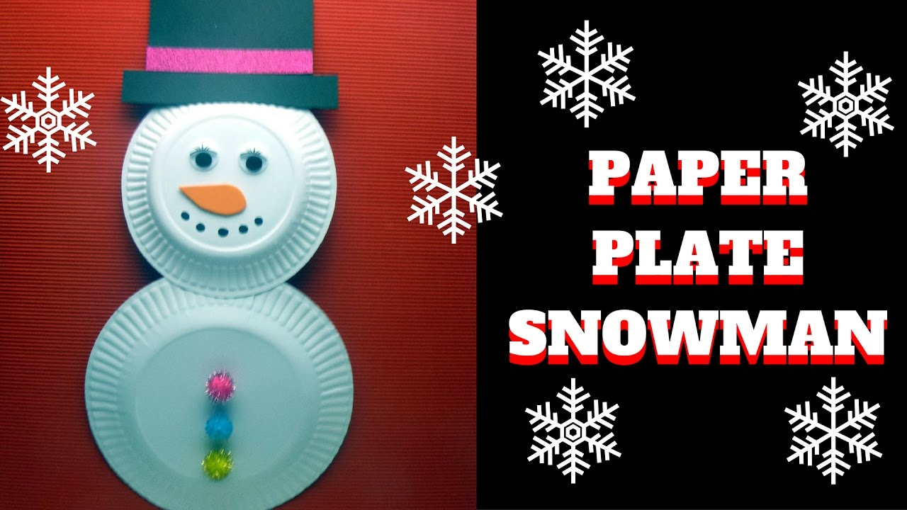 Christmas Craft Paper Plate Snowman Paper Plate Craft Youtube