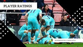 PLAYER RATINGS   BOURNEMOUTH 2-2 NEWCASTLE UNITED