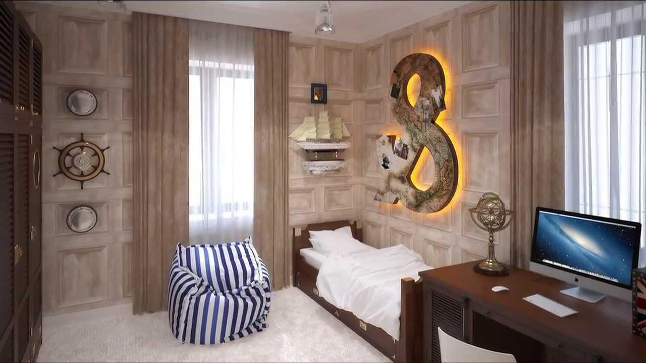 Дизайн комнаты с обоями для подростка мальчика