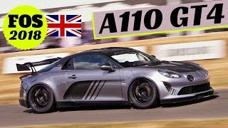 Alpine A110 GT4 Cup + A110 production version in action! - 2018 Goodwood Festival of Speed