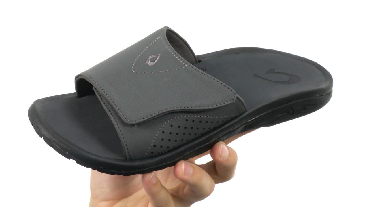 Olukai Nalu Slide Black//Black Comfort Sandal Men/'s US sizes 7-15 NIB!!!