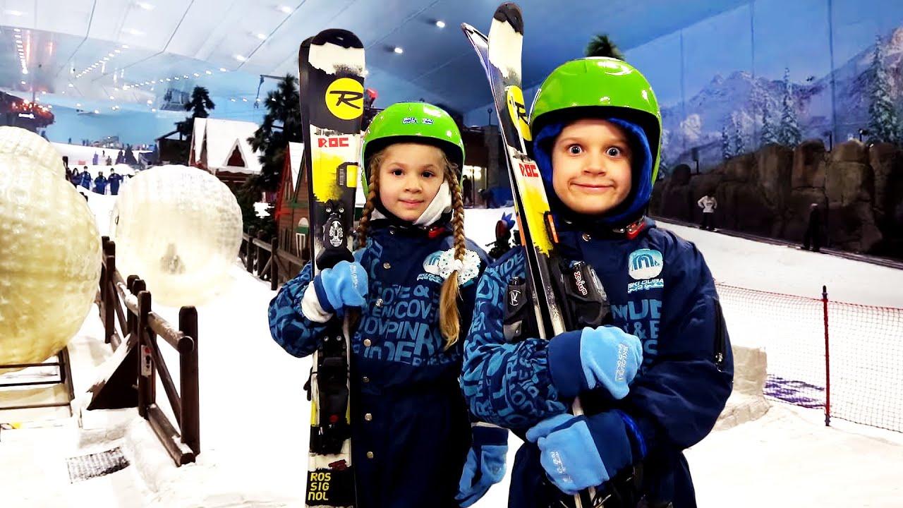 Diana and Roma at Ski Dubai with family!