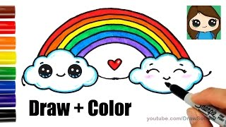 How to Draw a Rainbow and Clouds Easy with Coloring