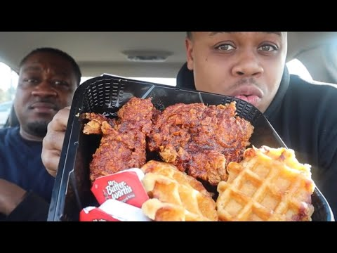 KFC Nashville hot Chicken And Waffles Platter | MAM Food Reviews