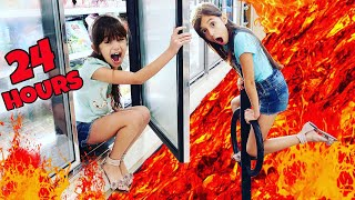 FLOOR IS LAVA CHALLENGE For 24 HOURS! | Emily and Evelyn