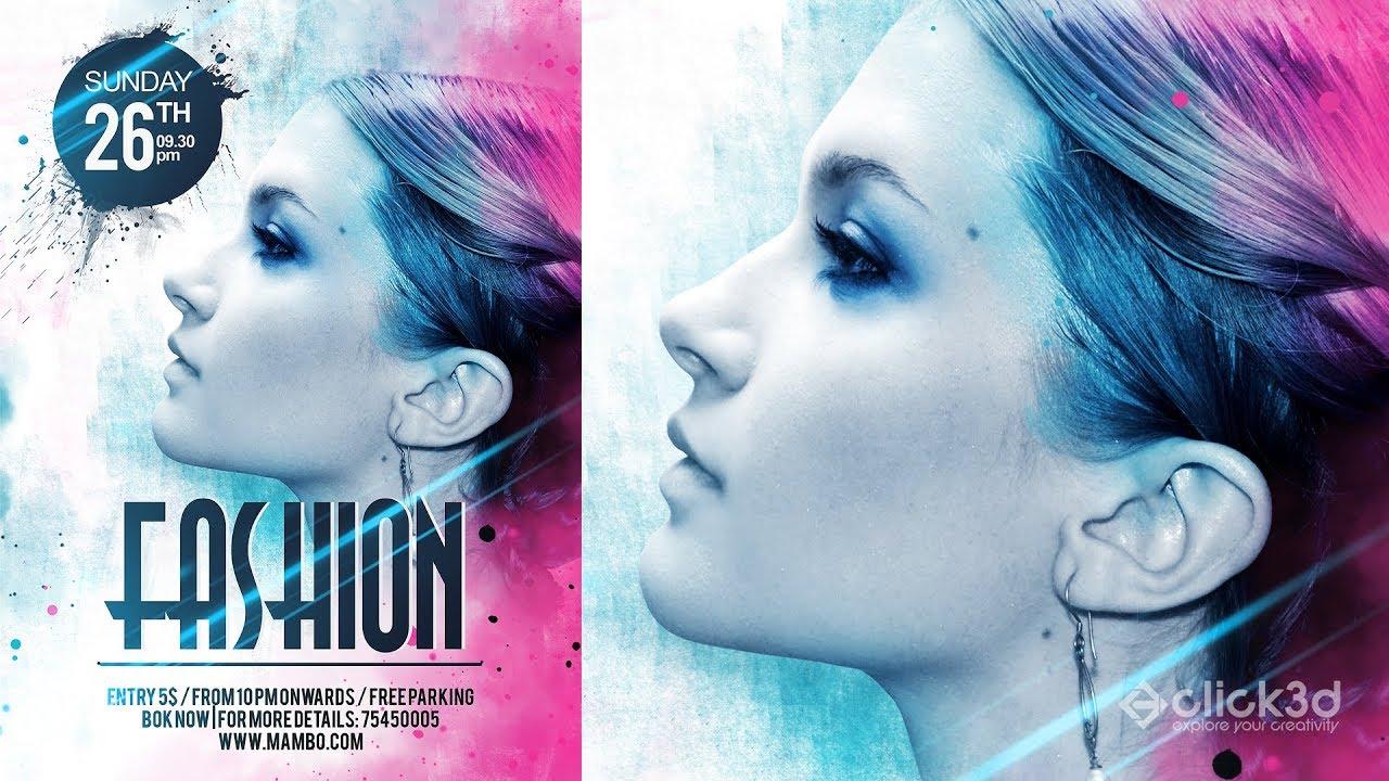 Fashion Flyer Design | Fashion Poster Design | Photoshop Tutorial | Click3d  Fashion Poster Design