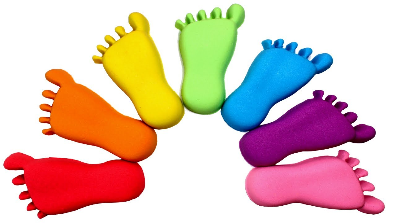 Learn Colors with Kinetic Sand Feet Rainbow Color Kinetic ...
