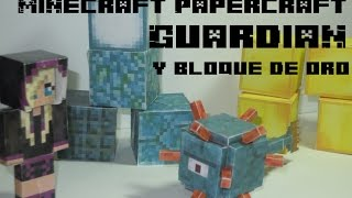 Papercraft guardián del templo del mar, mena y bloque de oro