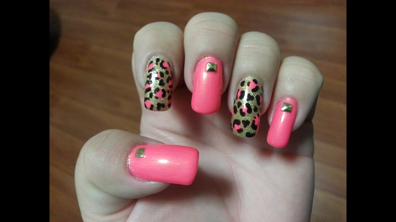 Hot Pink And Gold Leopard Print Nail Art