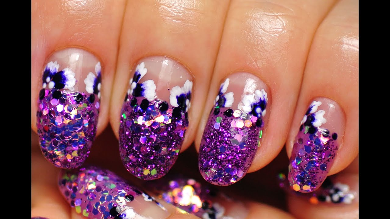 Nail Art Sparkling Nails Flowers Youtube