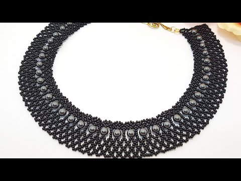 """Колье """"ЧЕРНАЯ жемчужина""""/Necklace Made Of Beads And Beads """"BLACK Pearl""""/DIY Necklace/Simple Necklace"""