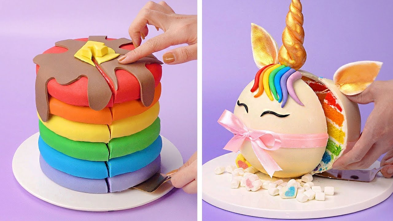 Top Amazing Rainbow Cake Decorating Recipes For All the Rainbow Cake Lovers | So Tasty Colorful Cake