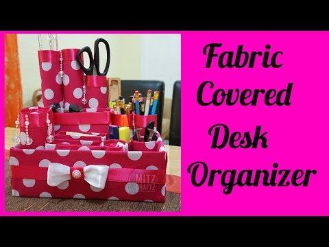 Fabric Covered Desk Organizer using paper towel rolls| Paper Towel Crafts| DIY Desk Organizer