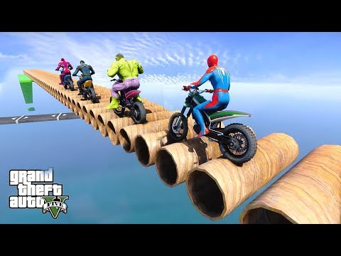 SpiderMan With Dirt Bike Superheroes Pipes Parkour Challenge - GTA V MODS