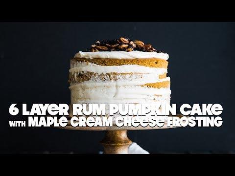 Layered Rum Pumpkin Cake Recipe With Maple Cream Cheese Frosting