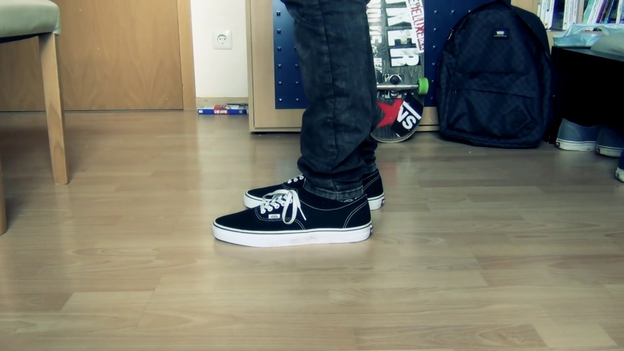 vans authentic mono black on feet