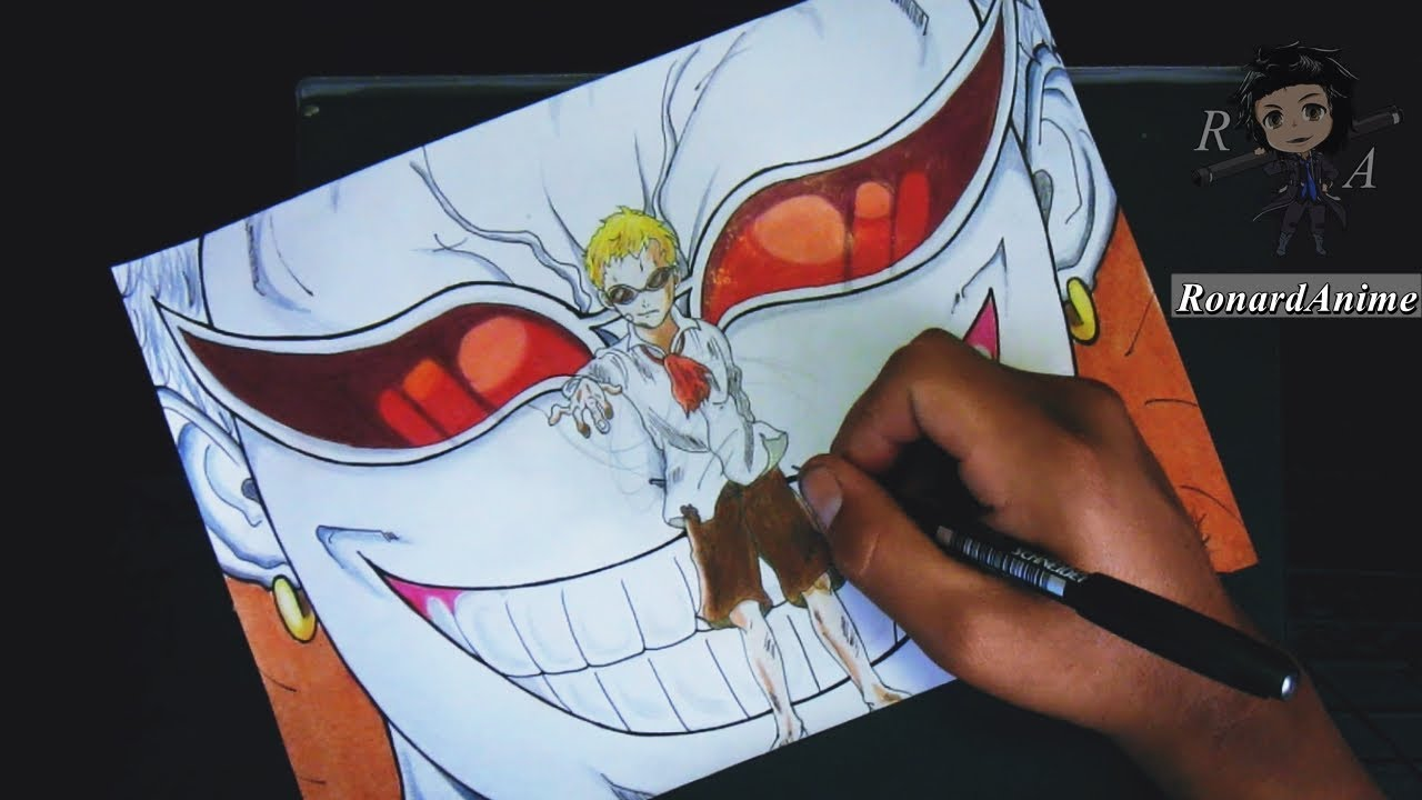 Dibujando A Doflamingo Speed Drawing Doflamingo Lapices De Colores
