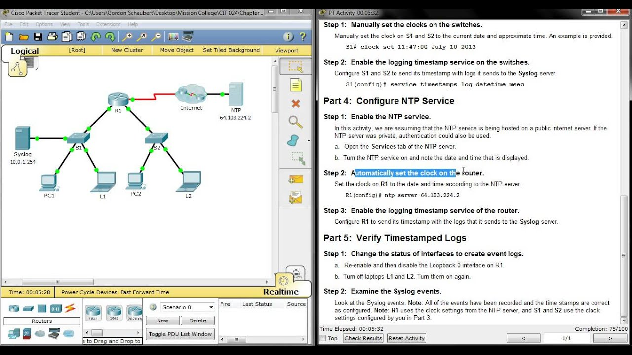 8 1 2 5 Packet Tracer - Configuring Syslog and NTP - YouTube