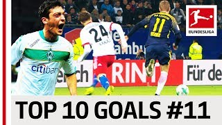 Top 10 Goals - Players with Jersey Number 11 - Özil, Götze, Werner & Co.